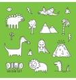 Dino cartoon set white vector image