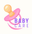 baby care banner child pink pacifier infant girl vector image