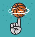 basketball ball hand spinning finger balance vector image vector image