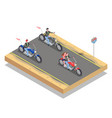 bikers isometric composition vector image vector image