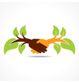 businessman handshake background with leaf vector image