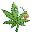 cannabis oil science hemp leaf cartoon character vector image vector image