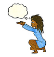 cartoon woman casting spell with thought bubble vector image vector image