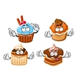 Chocolate cake cupcake and caramel muffins vector image vector image