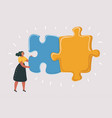 combining two puzzle pieces working together vector image vector image