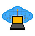 computer connected to a cloud vector image vector image