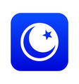 crescent and star icon digital blue vector image vector image