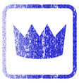 crown framed textured icon vector image vector image