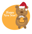 Cute cartoon bear in Santa Claus hat vector image vector image