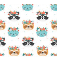 cute racoon cat and sloth heads with flower crown vector image vector image
