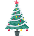 decorated christmas tree ready for holidays vector image