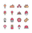 dessert icon set in filled color design vector image