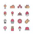 dessert icon set in filled color design vector image vector image