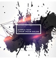 dirty ink splatter background with light effect vector image vector image