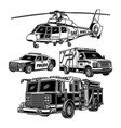 emergency vehicles collection in black and white vector image
