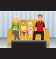 family watching movies at home vector image vector image