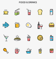 Flat line color icons food and drinks vector image