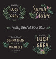 floral wedding invitation colored template set vector image