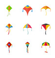 flying kite icon set flat style vector image vector image