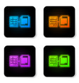 glowing neon smart contract icon isolated on vector image vector image