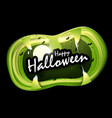 halloween text in mouth of monster vector image