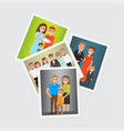 happy family group portraits set vector image
