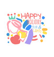 happy holiday fun and games logo template colorful vector image vector image