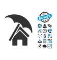 Home under Umbrella Flat Icon with Bonus vector image vector image