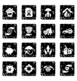 insurance icons set grunge vector image vector image