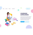 isometric learning language concept vector image