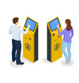isometric modern bitcoin atm cryptocurrency cash vector image vector image