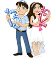 Jewish Boy And Girl Hold Numbers For Bar Bat vector image vector image