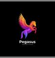 logo pegasus gradient colorful style vector image