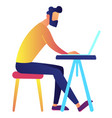 male it specialist working on laptop at desk vector image vector image