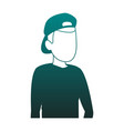 man faceless head blue lines vector image vector image