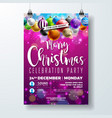 merry christmas party flyer design with holiday vector image vector image