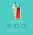 pair of drinks promo poster cocktails icon text vector image