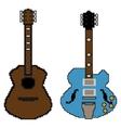 pixel guitar set1 vector image vector image