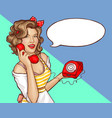 pop art woman housewife call retro phone banner vector image