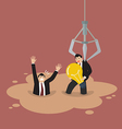 Robotic claw picking a businessman who has an idea vector image vector image