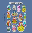 russian nesting dolls matryoshka sticker set for vector image vector image