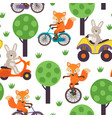 seamless pattern hare and fox is riding in forest vector image