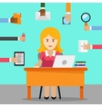 Secretary Busy woman for office work vector image