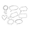 set grunge hand drawn speech bubbles vector image vector image