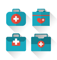 set icons of medicine chest with long shadow in vector image vector image