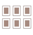 set of brown photo frames on the wall vector image vector image
