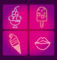 set of food neon icons vector image