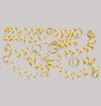 set realistic gold ribbons on grey background vector image vector image
