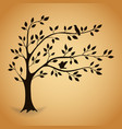 silhouette tree with leaves vector image