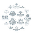 space planet logo icons set simple style vector image vector image